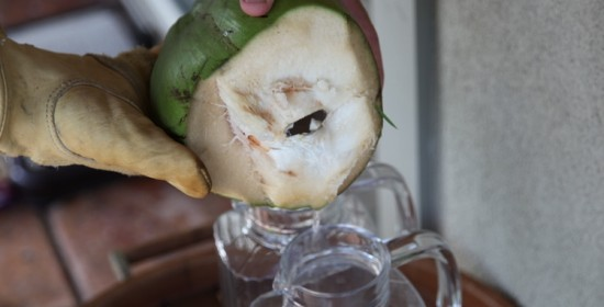 Coconut cut open and pour water