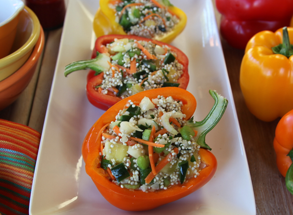 Plant-based Sprouted Quinoa Stuffed Bell Peppers Raw or Cooked