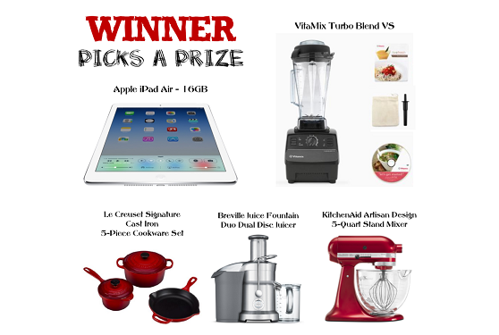 New January Prize Giveaway win 1 of 5 prizes including an Apple iPad Air 16gb or a VitaMix Turbo VS