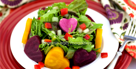 Valentine's Day Salad with heart shaped beets is a fun and easy, low calorie recipe