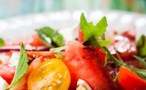 Watermelon Tomato Salad over Arugula