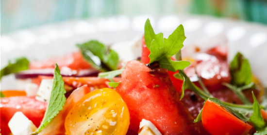 Watermelon Tomato Salad over Arugula