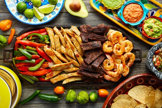 Mexican combo beef chicken fajitas shrimp